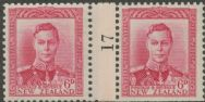 NZ Counter Coil Pair SG 683 1947 6d King George VI Join No. 17 (NCC/161)